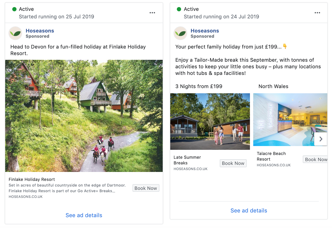 Holiday park targeted Facebook Ads