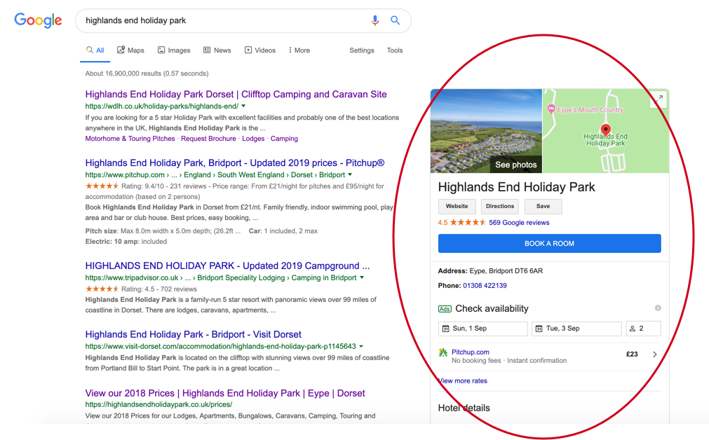 Google My Business for Highlands End Holiday Park